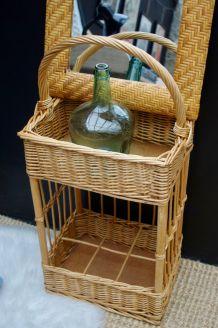 Porte bouteilles vintage rotin osier