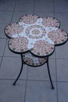 Table/Guéridon fer forgé et mosaïque
