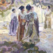 """HUILE/TOILE """"LES ARLESIENNES"""" M. ZYMMERMANN 46x61 Provence"""