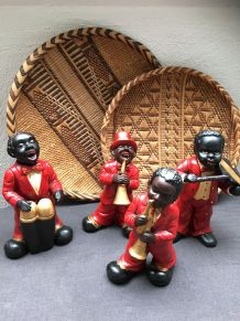 Lot de 4 figurines de musiciens de jazz Nouvelle Orléans