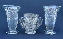 Trois vases Art Deco en verre moulé - VMC Reims