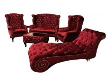Set Salon Chesterfield Vintage aspect Velours rouge