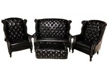 Set Salon Chesterfield Vintage aspect Cuir noir