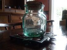 ancien bocal verre xoufflé et fumé