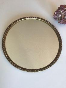 Miroir rond doré ancien