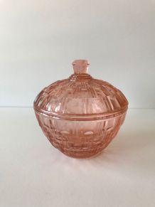 Sucrier vintage en verre rose