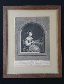 "Gravure XVIIIeme siècle - ""Tricoteuse Hollandaise"""
