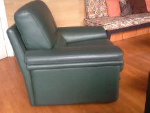2 fauteuils en cuir verts
