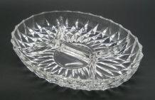 Plat en verre ovale à compartiments, année 70