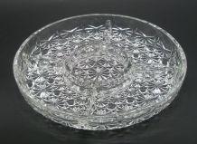 Plat en verre rond à compartiments, année 70