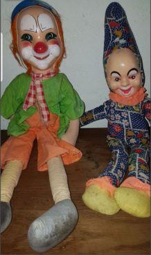 2 ancienne poupée clowns en chiffon