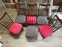 Chaises entièrement rénovées bois et velours: 6 disponibles