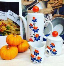 Service à Café, sucrier et pot à lait porcelaine Bavaria Pop