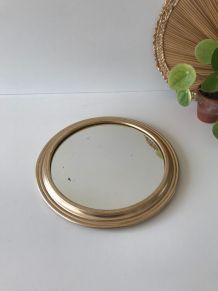 Miroir doré rond à poser