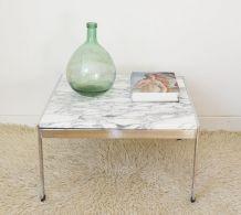 Table basse marbre acier style Knoll années 70
