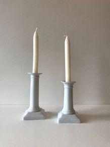 Paire de bougeoirs blanc en céramique