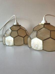 Paire de suspension luminaire en nacre et laiton