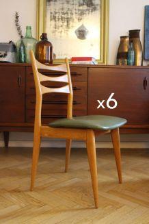 Suite de 6 chaises vintage scandinave pieds compas