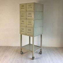 Casier métallique Flambo vintage 70's sur roulettes