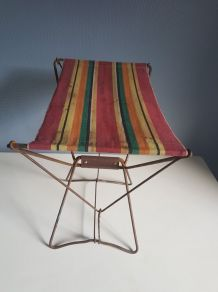 tabouret pliant vintage toile imprimée et structure en métal