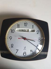 pendule à aiguilles électrique Jaz vintage formica marron