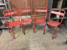Lot de 4 chaises Bistro métal 1950