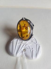 Bague Art Nouveau  en argent et ambre taille 55