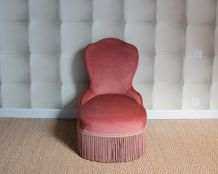Fauteuil crapaud rose parme