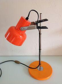 Lampe de bureau coulissante orange vintage années 70