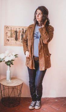 Superbe veste en daim avec ceinture réglable Vintage