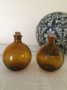 2 flacons boule ambre