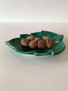 Petit plat céramique vintage forme feuille