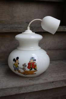 LUMINAIRE SUSPENSION EN VERRE, DECORATION DISNEY, ANNEES 70