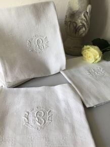 6 serviettes de table monogramme