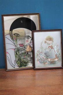 Ensemble tableau+miroir pierrot
