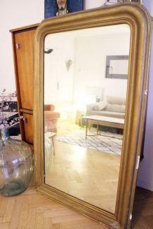 Grand miroir doré vintage Hausmannien Louis Philippe