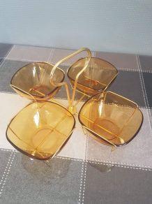 plateau apéritif vintage 4 coupes en verre Vereco et armatur