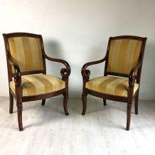 Paire de fauteuils d'époque restauration en acajou
