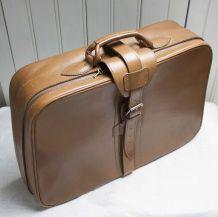 valise de voyage en cuir camel vintage