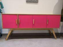 Buffet vintage portes rose