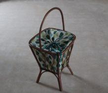Travailleuse RELOOKEE boîte à couture bois tissu vintage