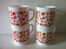 Lot de 4 mugs vintage Arcopal