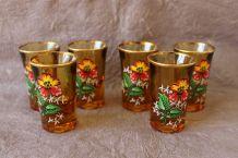 6  verres à liqueur couleur caramel décor fleur vintage