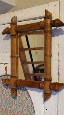 Vintage miroir  barbier 1900 bambou ancien