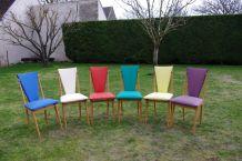 Chaises en hêtre garnies de moleskine 1960