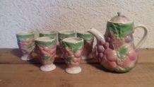 6 mugs et cafetière barbotine années 80