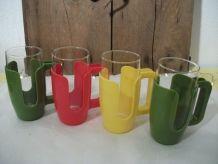 4 verres et protège verres ESSO  vintage