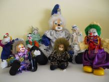 Collection de 8 Clowns Porcelaine et Tissu