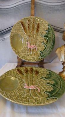 Assiettes céramique barbotines asperge faïence RAPHAEL signé