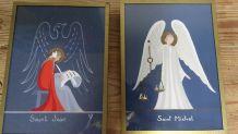 petite peinture religieuse fait main  vintage